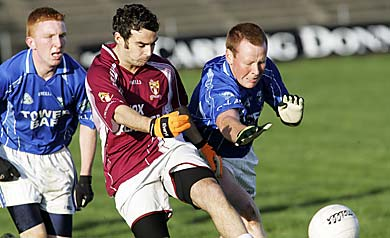 Crossmolina's Mark Loftus and Killala's Jerome Farrell