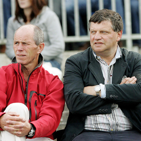 Mayo manager John O'Mahony is pictured at last Sunday's Connacht MInor FC Final replay at Dr Hyde Park, flanked by his selector Tommy Lyons