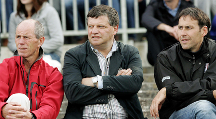 Mayo manager John O'Mahony is pictured at last Sunday's Connacht MInor FC Final replay at Dr Hyde Park, flanked by his selectors Tommy Lyons (left) and Kieran Gallagher.