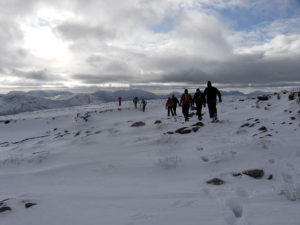 Walkers on Maamtrasna in the snow