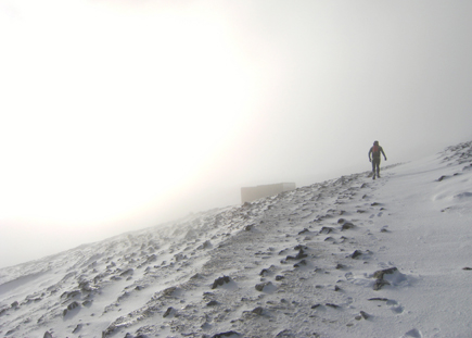 A man climbing Croagh Patrick during the Big Freeze
