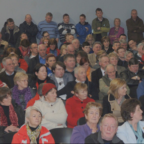 A huge crowd of locals turned out in Knockmore last Friday night to voice their opposition to the closure of the local Post Office.
