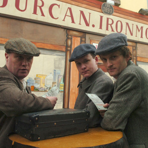 Last Sunday saw the launch of a week of events to rememeber the Addergoole 14 and our picture, taken by Henry Wills, shows Frankie Gibbons as John Bourke, Paul Canavan as his grand-uncle Pat Canavan, and Kenneth Burke as James Flynn, pictured outside Leo Doherty's Shop in Castlebar - the site of Durcan's Shop where the men purchased their Titanic tickets.