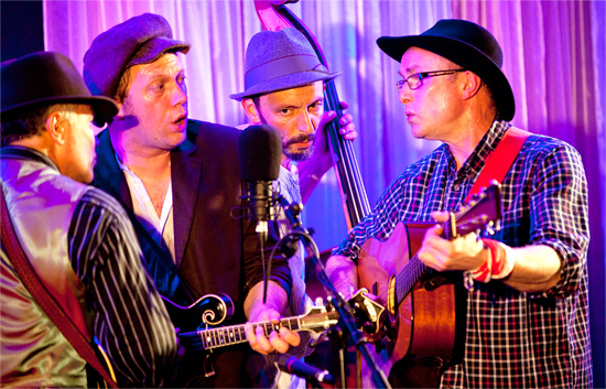 Headliners The Thunderbridge Bluegrass Boys (Brian Schofield, Nick Girone-Maddocks, Jules Bushell and Martin Schofield) are pictured on stage at the Wyatt Hotel.