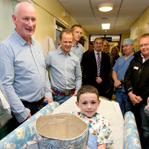 Nine-year-old TJ Flannery-Murphy from Killala was delighted to get his hands on the Liam McCarthy Cup when the All-Ireland Champions Kilkenny visited Crumlin Children's Hospital on Monday morning after their win over Galway.
