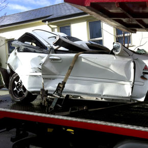 one of the cars involved in Sunday's accident near Kilkelly