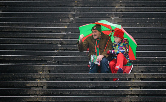 Martin McNea from Newport urges on Mayo during their comfortable win over old rivals Kerry in the National Football League at McHale Park last Sunday.