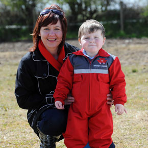 Teresa Heaney is pictured with her son Jack, who was all ready to take part in last Sunday's Mayo Ploughing Championship, which took place on the McDonagh family farm in Killernan, Kilmaine.