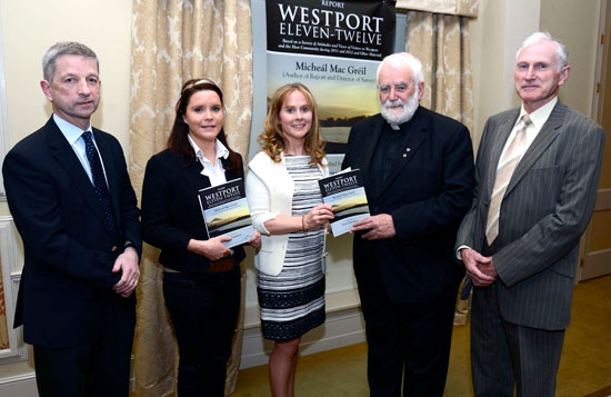 Fr Micheál MacGreil, Author and Director, with, from left: Michael O' Donnell, Chairman of Marketing; Maria O' Connell, Secretary; Catherine O' Grady-Powers, Chairperson, and Dick Harnedy, Treasurer, at the launch of the Westport Tourism Organisation Survey ''Westport Eleven - Twelve' in Knockranny House Hotel.  Pic: Frank Dolan