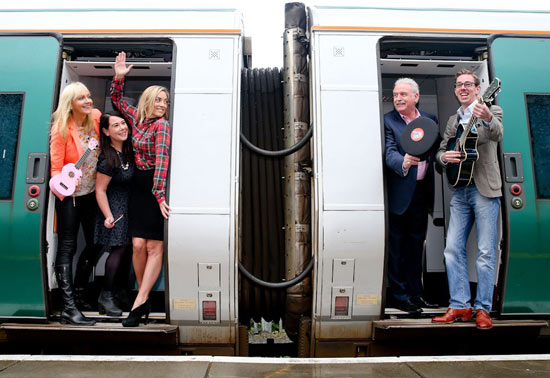 National TV and radio celebs are banding together to take part in RTÉ Big Music Week. From left: Miriam O'Callaghan, Sinéad Ní Uallacháin, Kathryn Thomas, Marty Whelan and Ryan Tubridy.