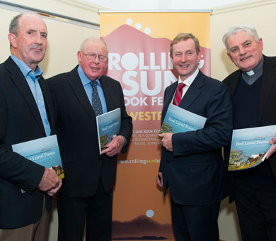 Pictured at th e launch of 'Best Loved Poems: Favourite Poems from the West of Ireland', edited by Thomas F Walsh and photography by Westport photographer Liam Lyons, from left, are Thomas J Walsh, Liam Lyons and special guest, An Taoiseach Enda Kenny and Abbot of Glenstal Abbey, Mark Patrick Hederman
