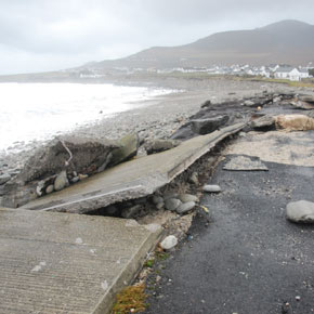 A footpath was ripped up and tossed onto the tarmacadam at Dooagh Beach on the west end of Achill Island.