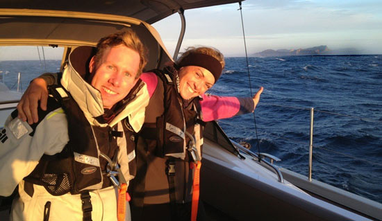 Audrey and her husband, Paul, rounding the famous Cape of Good Hope aboard the Lush.