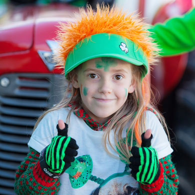 Amy Forde from The Neale celebrated her seventh birthday yesterday by taking part in the Ballinrobe St Patrick's Day parade