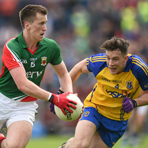 Mayo's Cillian O'Connor tries to get away from Roscommon's Neil Collins during Sunday's Connacht SFC semi-final.