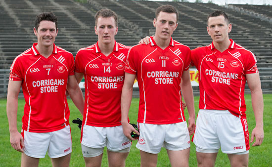 The O'Connor brothers, Ruaidhri, Cillian, Diarmuid and Padraig, are pictured in MacHale Park after a remarkable game during which all four of them scored a goal in Ballintubber's 9-11 to 2-12 victory over Knockmore in the Mayo Senior Football Championship on Sunday.