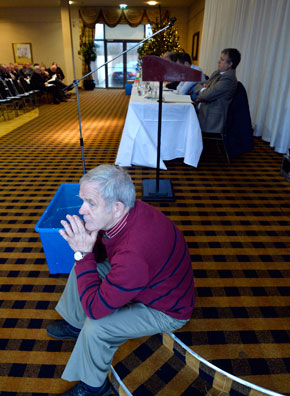East Mayo Board Chairman Vincent Walsh is pictured taking a break at the Mayo GAA Convention in the Park Hotel, Kiltimagh last Sunday.