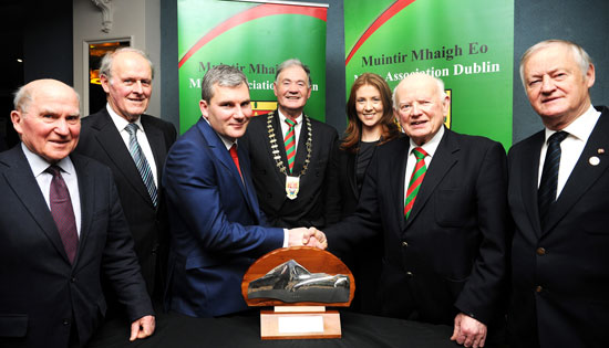 Outgoing Mayo Person of the Year John Walkin congratulates James Horan on his award at the Mayo Association's press night in The Ballsbridge Hotel, Dublin. Included are fellow award winners Seamus Caulfield, Noel Conroy and Michael Feeney with Mayo Association President John Costello and Chairperson Carmel Heaney.