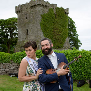 Rose of Tralee Maria Walsh is pictured with local musician Aindrias De Staic in Shrule last week.