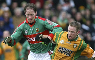 Mayo's James Nallen and Donegal's Brian Roper