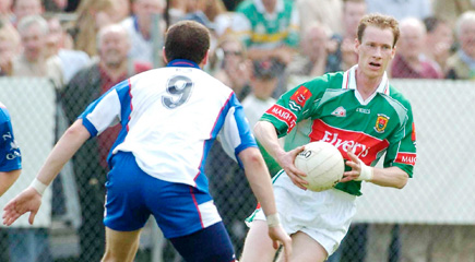 Mayo's longest-serving footballer, James Nallen, is pictured in action against New York in the Connacht Championship five years ago.