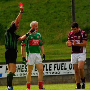 Ballina's Liam Brady is sent off by referee John Hughes