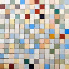 Multi-coloured tile mosaic