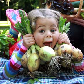 Four-year-old Nessa Last discovered new uses for onions at the recent launch of National Organic Week, which runs September 13 to 19.