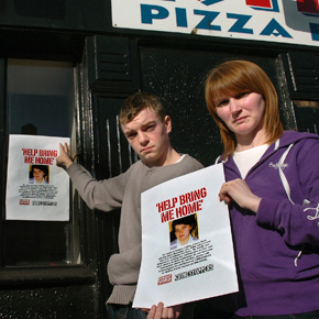 Patrick Collins and Bridie Conway, brother and sister of Sandra Collins, outside the Killala take-away where their sister was last seen on December 4, 2000. Both the Sunday World newspaper and Crimestoppers organisation are supporting the campaign in seeking information on Sandra's disappearence.?