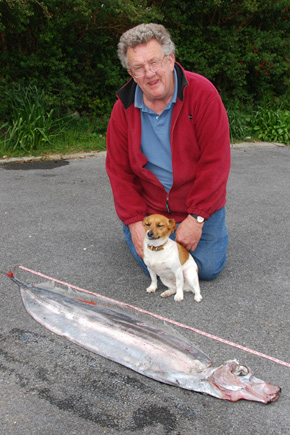 The deal fish found by Martin Lavelle (pictured) and his dog, Keem.