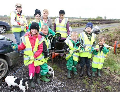 Families from the area all came together to help clear the litter from Dalgan Bog.