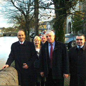 Fianna Fáil leader Micheal Martin pictured in Westport during his two day tour of Mayo with Dara Calleary TD and local party members Declan Dever, Joan Geraghty and Michael Chambers.