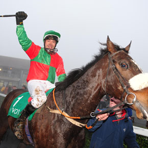 Bohola native John Reddington punches the air after riding his horse, 'Agent James' to victory at Navan last Sunday.