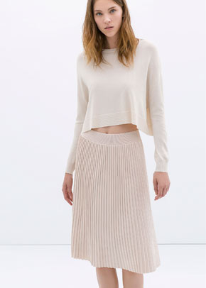 Zara's spring/summer 2014 collection includes this knife-pleat skirt in on-trend pastel 'nude pink'
