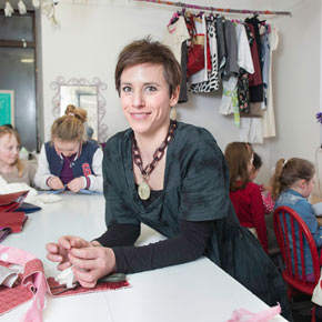 Anna Wright with some of the children who attend her sewing classes at the StitchClub on Westport's North Mall, where she also runs classes for adults.