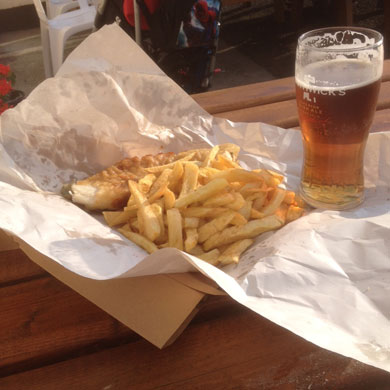 The good life, courtesy of Teach Una's and Sharon's Fish and Chips in Blacksod.