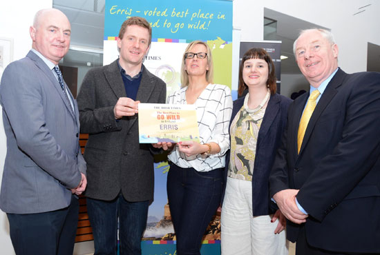 Pictured at the presentation of the Irish Times Best Place to Go Wild in Ireland award to the area of Erris, are, from left: Peter Hynes, Mayo County Manager; Conor Goodman, Irish Times features editor; Rina Garrett, tourism development officer, Erris Beo; Rosemarie Mangan, tourism officer, Erris Beo; Minister of State for Tourism and Sport Michael Ring.